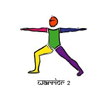 Painting of warrior 2 yoga pose & Sanskrit text. by Mindful-Designs