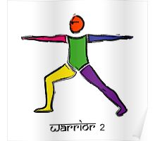 Painting of warrior 2 yoga pose & Sanskrit text. Poster
