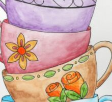 Whimsical Stacked Cups Sticker