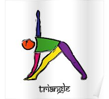 Painting of triangle yoga pose with Sanskrit text. Poster