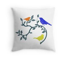 Colorful Birds on Branch Throw Pillow