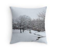 Snow in Highland Village Throw Pillow