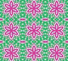 Pink and Green Abstract Flower Design by Mercury McCutcheon