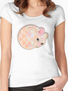 Introvert Kitten - patterned cat illustration Women's Fitted Scoop T-Shirt