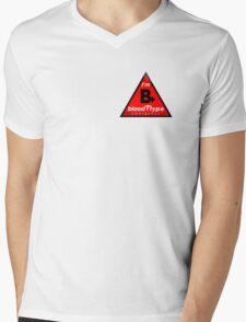 B+ blood type information / stay safe, I suggest application to helmets Mens V-Neck T-Shirt