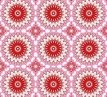 Red and Pink Abstract Flower Design by Mercury McCutcheon