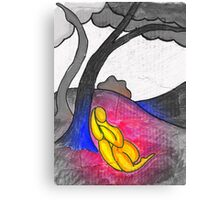 Abstract landscape with tree figure. Focal saturation. Canvas Print