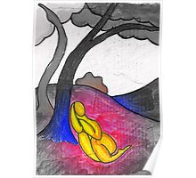 Abstract landscape with tree figure. Focal saturation. Poster