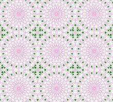 Pink, White and Green Abstract Design Pattern by Mercury McCutcheon