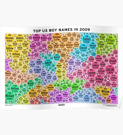 Top US Boy Names in 2009 - White Poster