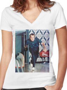 Richard Nixon Bowling Women's Fitted V-Neck T-Shirt