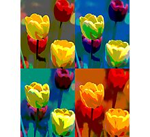 Colorized Tulips Photographic Print