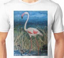 Flamingo With Offspring Wading Through Rivergrass Unisex T-Shirt