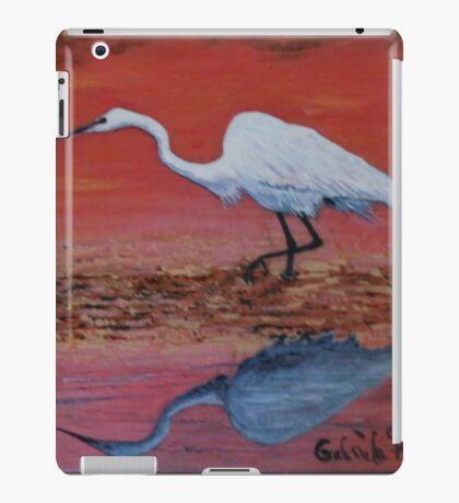 White Egret Wading In The Sunset iPad Case/Skin