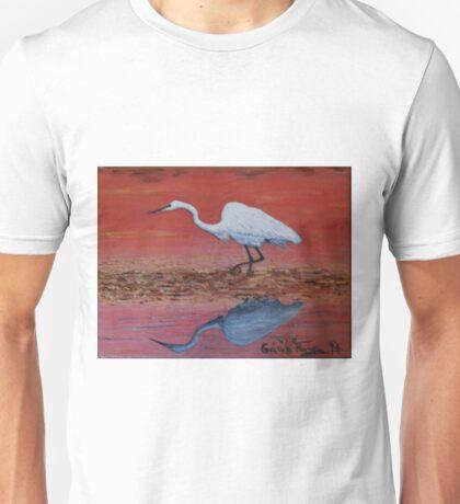 White Egret Wading In The Sunset Unisex T-Shirt