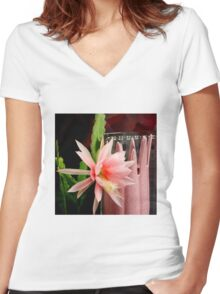 Pink Petal Pushers Women's Fitted V-Neck T-Shirt