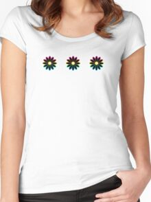 Simple Black & White Daisy Pattern  Women's Fitted Scoop T-Shirt
