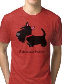 J'aime mon Scottie (I love my Scottie – French) Tri-blend T-Shirt