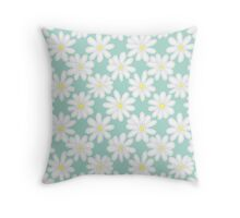 Bright Happy Daisies on Mint Throw Pillow