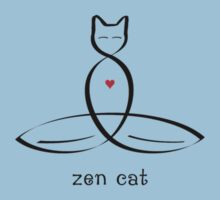 "Stylized Cat Meditator with ""Zen Cat"" in fancy text by Mindful-Designs"