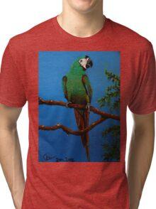 A Jubilant Green Macaw, All Alone Tri-blend T-Shirt