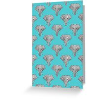 Elephant Pattern on Blue Greeting Card