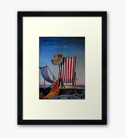 Folding Chairs Watching, Contemplating The Sunset Framed Print