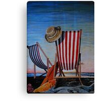 Folding Chairs Watching, Contemplating The Sunset Canvas Print