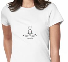 "Stylized Cat Meditator with ""Namaste"" in fancy text Womens Fitted T-Shirt"