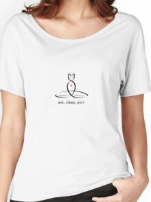 """Stylized Cat Meditator with Eat, Sleep, Purr"""" in fancy text Women's Relaxed Fit T-Shirt"""