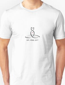 """Stylized Cat Meditator with Eat, Sleep, Purr"""" in fancy text Unisex T-Shirt"""