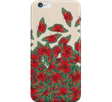 Ruby & Emerald Butterfly Dance - red, teal & green butterflies on cream iPhone Case/Skin