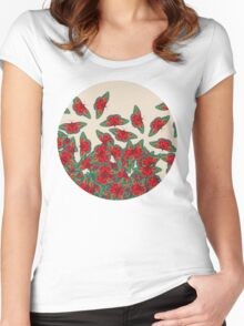 Ruby & Emerald Butterfly Dance - red, teal & green butterflies on cream Women's Fitted Scoop T-Shirt