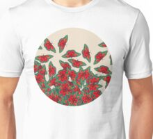 Ruby & Emerald Butterfly Dance - red, teal & green butterflies on cream Unisex T-Shirt