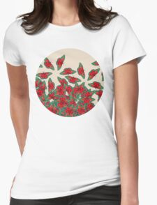 Ruby & Emerald Butterfly Dance - red, teal & green butterflies on cream Womens Fitted T-Shirt