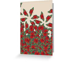 Ruby & Emerald Butterfly Dance - red, teal & green butterflies on cream Greeting Card