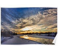 Sunrise on the Bow River in Calgary Poster