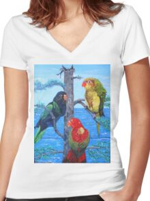 Trilogy in Bird Women's Fitted V-Neck T-Shirt