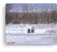 Christmas sledding in Wisconsin Canvas Print