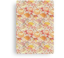 Woodland Hedgehogs - a pattern in soft neutrals  Canvas Print