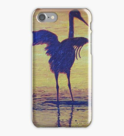 Crane Bathing In The Sunset iPhone Case/Skin