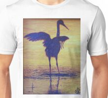 Crane Bathing In The Sunset Unisex T-Shirt
