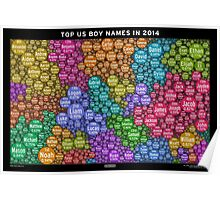 Top US Boy Names in 2014 - Black Poster