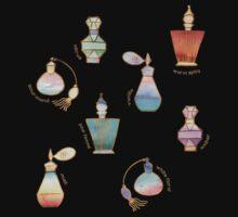 Pretty Perfumes - a pattern of vintage fragrance bottles Kids Tee