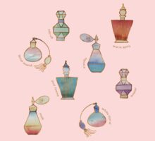 Pretty Perfumes - a pattern of vintage fragrance bottles One Piece - Short Sleeve