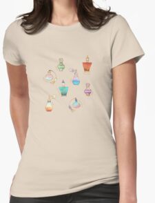 Pretty Perfumes - a pattern of vintage fragrance bottles Womens Fitted T-Shirt