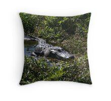lurking gator Throw Pillow