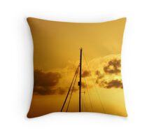 Golden Sail Sunset Throw Pillow