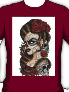 Day of the dead sugar skull mexican tattoo girl T-Shirt