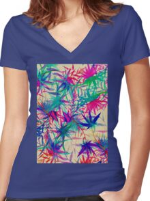 Tropical Jungle - a watercolor painting Women's Fitted V-Neck T-Shirt